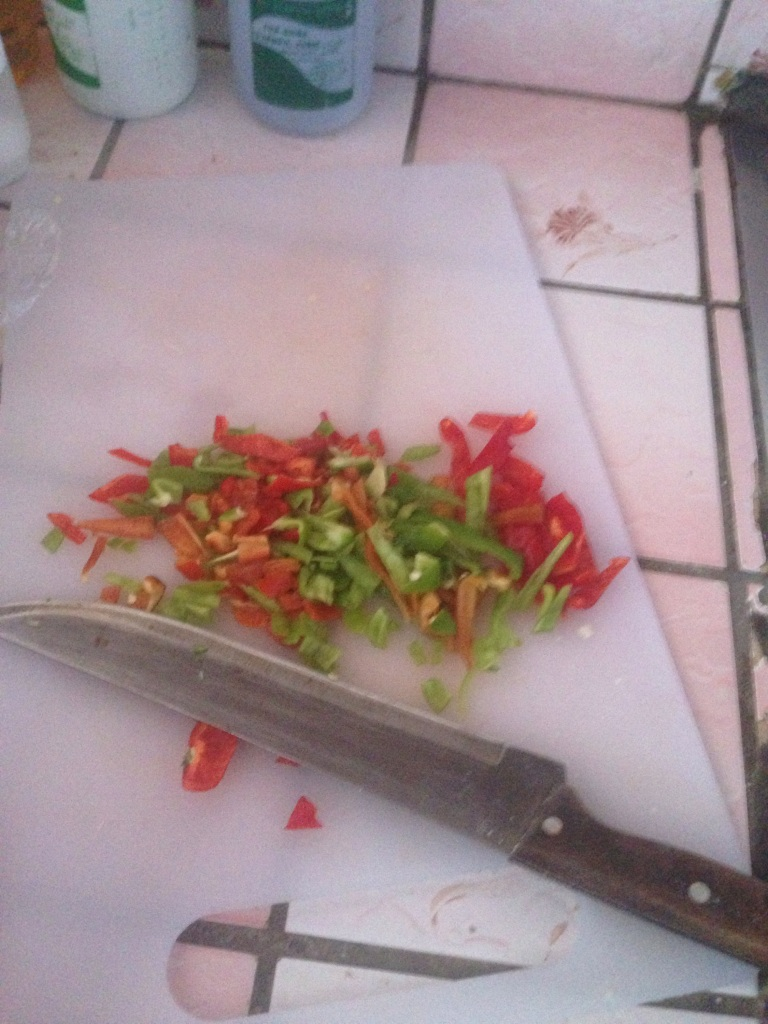 Diced pimientos dulces for the dough